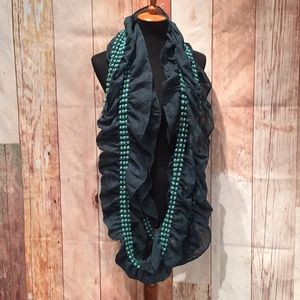 Charlotte Russe Green Ruffled Infinity Scarf  P188